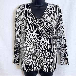 Pierri New York Large Abstract Cardigan Sweater
